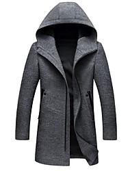 abordables -Homme Quotidien Taille EU / US Longue Manteau, Couleur Pleine Capuche Manches Longues Polyester Noir / Gris