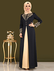 abordables -musulman Robe Femme Costume Noir / Vin Vintage Cosplay Manches Longues