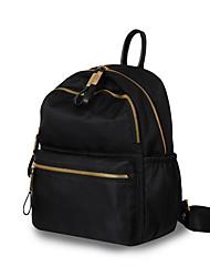 """Недорогие -Большая вместимость Ткань """"Оксфорд"""" Молнии рюкзак Сплошной цвет Повседневные Черный"""