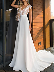 cheap -A-Line V Neck Sweep / Brush Train Lace / Charmeuse Cap Sleeve Mordern See-Through Wedding Dresses with Appliques 2020