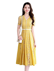 cheap -Women's Sophisticated Chiffon Dress - Color Block Blue, Lace Trims Yellow Blue M L XL XXL