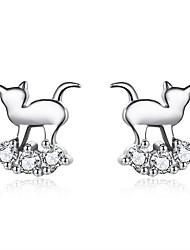 Недорогие -Жен. Белый Цирконий Серьги-гвоздики Классический Кошка Простой Мультяшная тематика европейский модный Мода Стерлинговое серебро S925 Серьги Бижутерия Серебряный Назначение / 1 пара