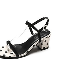 cheap -Women's Sandals Chunky Heel Square Toe Satin Classic Spring & Summer Black / White