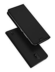 abordables -Coque Pour Nokia Nokia 1 Plus Porte Carte / Avec Support / Clapet Coque Intégrale Couleur Pleine faux cuir / TPU