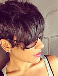 cheap -Human Hair Wig Short Straight Natural Straight Bob Pixie Cut Layered Haircut Asymmetrical Black Life Easy dressing Comfortable Capless Women's All Natural Black 8 inch / Natural Hairline