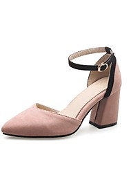 cheap -Women's Heels Chunky Heel Pointed Toe Buckle Faux Leather Casual / Minimalism Walking Shoes Spring &  Fall / Spring & Summer Black / Army Green / Pink / Color Block / Daily / 2-3