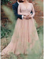 cheap -A-Line Wedding Dresses V Neck Floor Length Lace Tulle Long Sleeve Country Plus Size with Lace Insert 2020