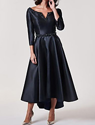 cheap -A-Line Mother of the Bride Dress Plus Size V Neck Tea Length Stretch Satin 3/4 Length Sleeve with Sash / Ribbon Beading 2020