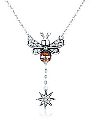 cheap -Women's AAA Cubic Zirconia Pendant Necklace Classic Bee Fashion S925 Sterling Silver Silver 45 cm Necklace Jewelry 1pc For Daily