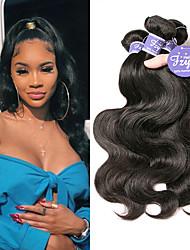 cheap -3 Bundles Indian Hair Body Wave Remy Human Hair 100% Remy Hair Weave Bundles Natural Color Hair Weaves / Hair Bulk Extension Bundle Hair 8-28 inch Natural Color Human Hair Weaves Classic Women Sexy