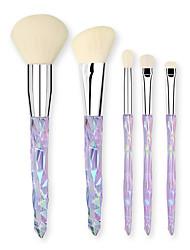 cheap -5 Pcs Makeup Brush Set Beauty Tools Crystal Makeup Brush Set Foundation Eye Shadow Makeup Brush Set Transparent Handle