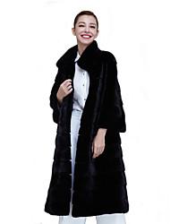 abordables -Femme Vacances / Sortie Hiver / Automne hiver Longue Manteau en Fourrure, Couleur Pleine Col Roulé Manches Longues Fausse Fourrure Noir