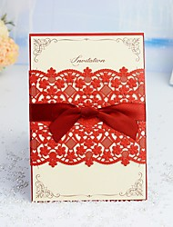 "cheap -Wrap & Pocket Wedding Invitations 30pcs - Invitation Cards / Response Cards / Invitation Sample Artistic Style / Modern Style / Floral Style Pearl Paper 5""×7 ¼"" (12.7*18.4cm) Satin Bow / Sash / Ribbon"