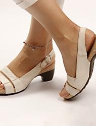 cheap -Women's Sandals Flat Sandal Summer Flat Heel Peep Toe Daily PU White / Black / Red