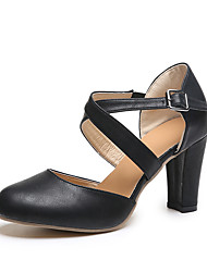 cheap -Women's Heels Chunky Heel Pointed Toe Faux Leather / PU Fall / Spring & Summer Black / Blue / Gray / Daily / 2-3