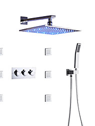 cheap -Bath Shower Faucet Set / Wall Mounted Square LED Shower Head / Hand Shower Included / Hot And Cold Bath Mixer Valve / Massage Body Jets  / Contemporary