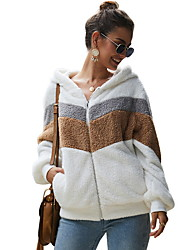 cheap -Women's Daily Regular Jacket, Color Block Hooded Long Sleeve Polyester White / Gray / Army Green