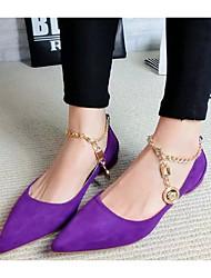 cheap -Women's Flats Flat Heel Pointed Toe Synthetics Sweet Spring & Summer Black / Wine / Purple