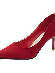 cheap -Women's Heels Kitten Heel Pointed Toe PU Minimalism Fall Red / Black / Daily / 2-3