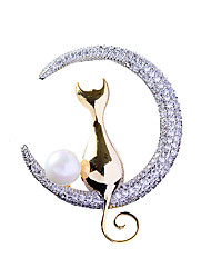 Недорогие -Жен. Броши маскарадный Кошка Роскошь модный Элегантный стиль Жемчуг Позолота Искусственный бриллиант Брошь Бижутерия Золотой Назначение Свадьба Обручение Подарок Офис обещание