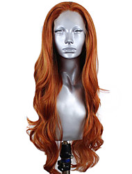 cheap -Synthetic Lace Front Wig Wavy Middle Part Lace Front Wig Long Orange Synthetic Hair 18-26 inch Women's Adjustable Heat Resistant Party Brown