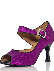 cheap -Women's Latin Shoes Heel Glitter Flared Heel Purple Ankle Strap Sparkling Shoes / Performance