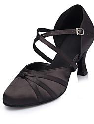 cheap -Women's Modern Shoes / Ballroom Shoes Satin Cross Strap Heel Splicing Flared Heel Customizable Dance Shoes Black / Performance