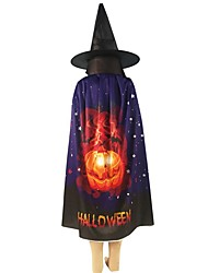 cheap -Halloween Decorations Cloak Pumpkin Skull Ghost Bat Pattern Wizard Cloak Hat For Party Cosplay Fancy Dress Costume Props