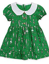 cheap -Toddler Girls' Basic Cartoon Short Sleeve Knee-length Dress Green