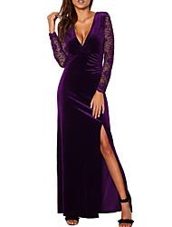 cheap -Women's Velvet Basic Maxi A Line Dress - Geometric Deep V Black Wine Purple S M L XL