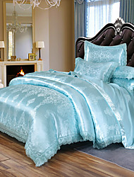 cheap -Duvet Cover Set Satin Embroidery Bedding Luxury European Neoclassical Style Jacquard Lace  Sheets 4 piece Bedding Set