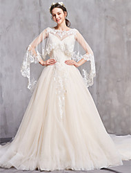 cheap -A-Line Jewel Neck Cathedral Train Tulle Long Sleeve Sexy Wedding Dresses with Appliques 2020