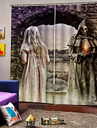 abordables -uv digtal impression fête halloween thème horrible diable arrière-plan rideaux épaississement des rideaux occultants pour la maison decro