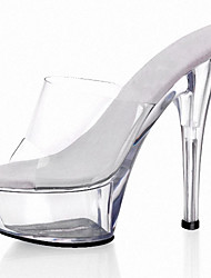 cheap -Women's Sandals Cone Heel Peep Toe Rhinestone PVC Classic / Minimalism Summer Clear / Wedding
