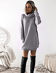 cheap -Women's Shift Dress - Solid Colored Dark Gray Gray S M L XL