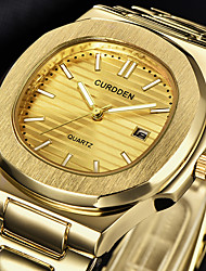cheap -Men's Dress Watch Quartz Formal Style Stylish Stainless Steel Black / Silver / Gold 30 m Calendar / date / day Analog Luxury Fashion - Black Golden Silver One Year Battery Life