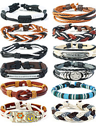 cheap -12pcs Men's Loom Bracelet Layered Star Statement Stylish Vintage Punk Genuine Leather Bracelet Jewelry Black For Gift Street Festival