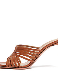cheap -Women's Sandals Stiletto Heel Open Toe Faux Leather Sweet / British Fall / Spring & Summer Brown / Silver