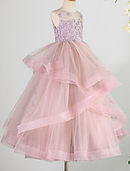 cheap -Princess Floor Length Flower Girl Dress - Lace / Tulle Sleeveless Jewel Neck with Beading / Appliques
