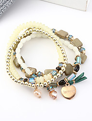 cheap -4pcs Women's Charm Bracelet Bead Bracelet Bracelet Layered Heart Vintage European Trendy Fashion Acrylic Bracelet Jewelry Black / Green / White For Party Gift Daily Holiday Work / Resin