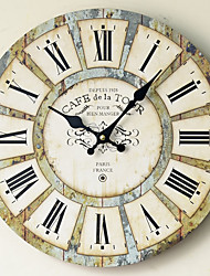 cheap -1pcs Wall Sticker Clock Home Restaurant Decoration Clock Personality Solid Wood Mute 30*30cm