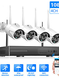cheap -Wireless Camera Set 4 CH NVR System Wifi Kit Network Camera Recorder IP Camera 1080P IP66 Waterproof H.265 Day / Night Vision  Security Monitor Camera