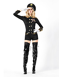cheap -Police Cosplay Costume Outfits Masquerade Adults' Women's Cosplay Halloween Halloween Festival / Holiday Cotton Polyster Black Women's Carnival Costumes