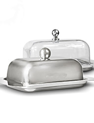 cheap -Stainless Steel Butter Dish Box Container Cheese Server Storage Keeper Tray with Lid Kitchen Dinnerware