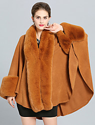 cheap -Long Sleeve Coats / Jackets Faux Fur / Imitation Cashmere Wedding / Party / Evening Women's Wrap With Splicing