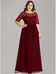 cheap -A-Line Plus Size Red Wedding Guest Formal Evening Dress Illusion Neck Half Sleeve Floor Length Nylon Lace Polyester with Sash / Ribbon Lace Insert 2020