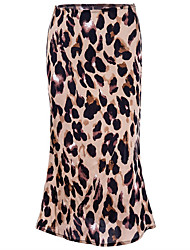 cheap -Women's Active / Street chic A Line Skirts - Leopard Chiffon White Khaki S M L