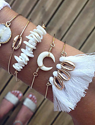 cheap -5pcs Women's Clear Crystal Bracelet Bangles Earrings / Bracelet Layered Shell Vintage Trendy Fashion Boho Cord Bracelet Jewelry Gold For Daily School Street Holiday Festival