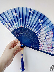 cheap -4pcs Bamboo Folding Hand Fans Wedding Favours Wedding Supplies Gift 21cm Long