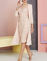 cheap -Sheath / Column Bateau Neck Knee Length Chiffon / Lace 3/4 Length Sleeve Vintage / Plus Size / See Through Mother of the Bride Dress with Appliques 2020
